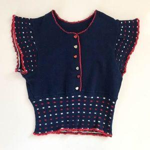 Vintage Girls Toddler Knit Cardigan Sweater SZ 5T